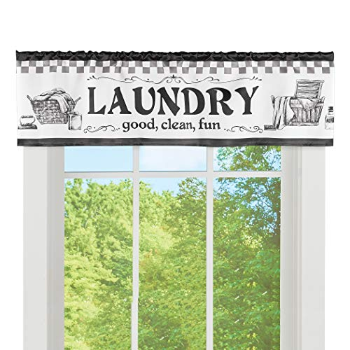 Collections Etc Good Clean Fun Laundry Icon Printed Window Valance