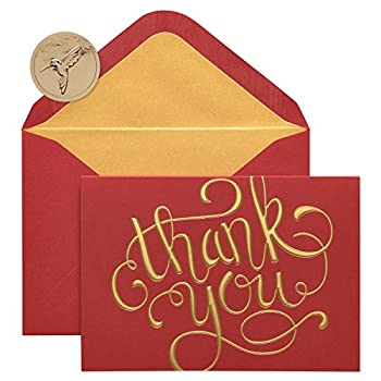 Papyrus Thank You Boxed Cards Red and Gold  12-Count