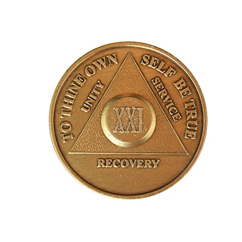 21 Year Bronze AA (Alcoholics Anonymous) - Sober / Sobriety / Birthday / Anniversary / Recovery / Medallion / Coin / Chip by Generic