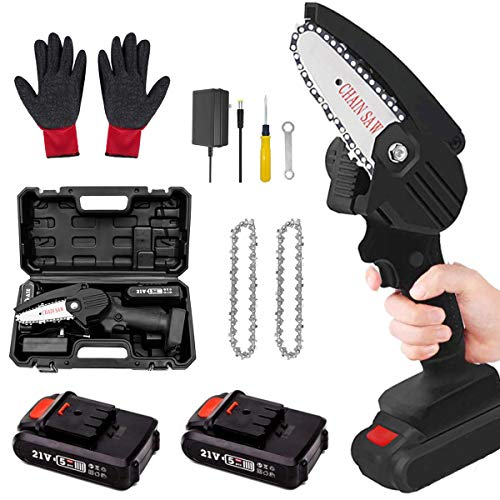ZNP Mini Battery Chainsaw, 4-Inch Protable Cordless Electric Chain Saws, One-Hand Cordless Saw for Garden Bush Tree Branch Pruning Shears Wood Cutting(2Pcs Batteries)