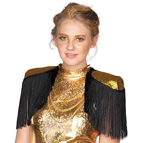 NET TOYS Schimmernde Epauletten mit Fransen - Gold-Schwarz - Glitzerndes Unisex-Accessoire Funkelnde Schulterklappen Rangabzeichen - Bestens geeignet für Karneval & Mottoparty