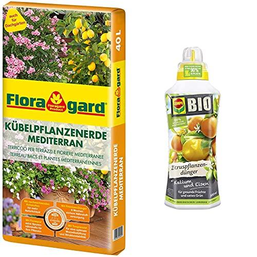 Floragard Kübelpflanzenerde mediterran 40 L - Spezialerde für große Kübel, Oliven & Compo Bio Zitruspflanzendünger für alle Zitruspflanzen-Arten, Natürlicher Spezial-Flüssigdünger, 500 ml