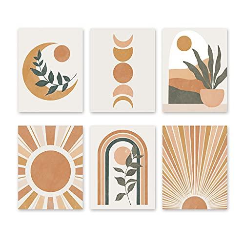 "Abstract Boho Wall Art Prints, Minimalist Geometric Sun Canvas Wall Art (8""x10""x6pcs, Unframed)-Mid Century Modern Art Print for Bedroom Decoration"