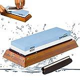 Schleifstein 2-in-1 Messerschärfer Schleifstein-Set 1000/6000 | Wasser Abziehstein auf rutschfestem Bambusblock mit gratis Anleitung | Schonendes Schleifen mit Wasserschleifstein
