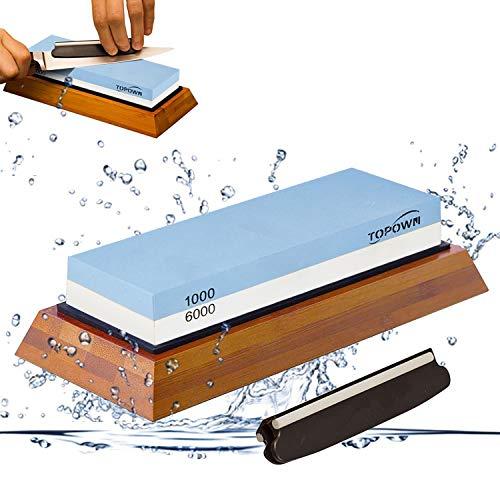 TOPOWN Pierre à Aiguiser 2-en-1 pour Couteau Grains 1000/6000 Pierre Affutage avec Support en Silicone antidérapant Pierre Aiguiser
