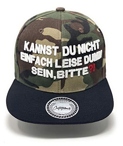 Outfitfabrik ❤️ Snapback Cap Kannst du Nicht einfach leise dumm Sein, Bitte?! in Camouflage, Schirm in schwarz,3D-Stick (Statement, Provokation) für Männer und Frauen, One Size, verstellbar