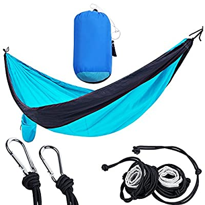 PORTAL Double Camping Hammock Lightweight Portable Nylon Hammock with Straps and Carabiners, Black/Turquoise