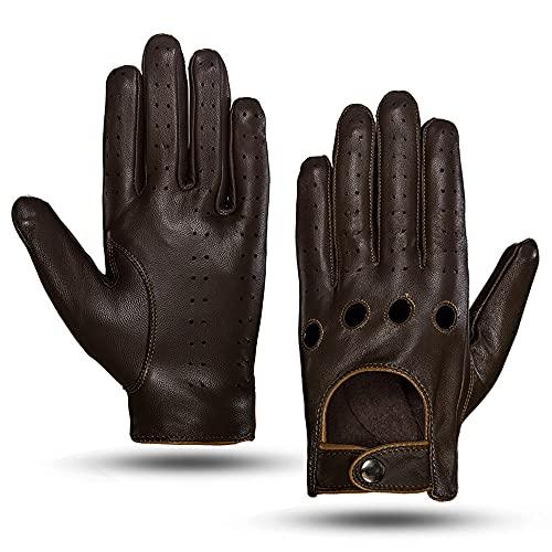 MGGM collection Guanti da guida in pelle touchscreen da uomo sfoderati,marronecammello,XL