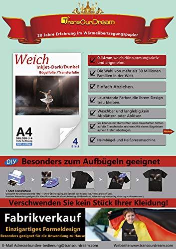 TransOurDream ECHTE Inkjet Bügelfolie Transferfolie Transferpapier KEIN ABBLÄTTERN!KEIN VERBLASSEN! Bedruckbare T-Shirt Folie zum Aufbügeln für dunkle Stoffe und Textilien,DIN A4X4 Blätter(Trans-3-4)