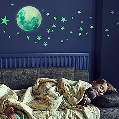 Glow in The Dark Stars Wall Stickers, 221 Adhesive Bright and Realistic Stars and Full Moon for Starry Sky, Shining Decoration for Girls and Boys, Beautiful Wall Decals