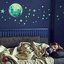 Glow in The Dark Stars Muurstickers, 221 zelfklevende heldere en realistische sterren en volle maan voor sterrenhemel, gla...