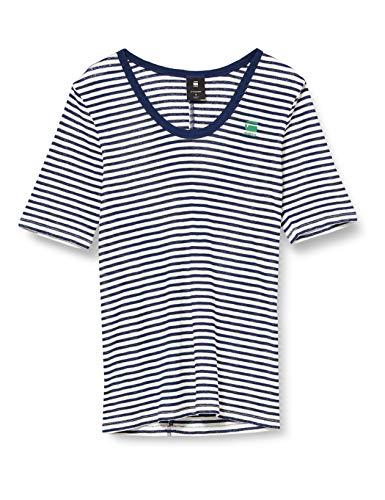 G-STAR RAW Damen T-Shirt Silber Slim Fit, Mehrfarbig (Milk/Imperial Blue Stripe 9024-8340), Large