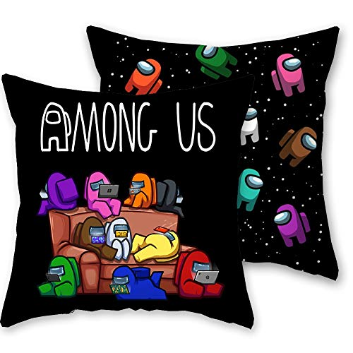 TRRY Fundas de Cojín de Videojuegos, 2pcs Game Among Us Throw Pillow de Almohada Decorativas para la sala de estar, dormitorio, sofá, silla, protector de almohada, Negro