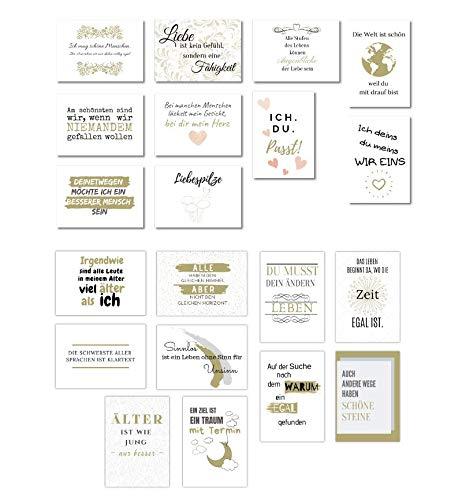 20 Postkarten Set Liebe und Leben | Postkarten Sprüche für Hochzeit, Familie und Freunde | Schöne Postkarten Sprüche in Schwarz Weiß und Gold von Wildpony.shop