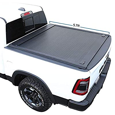 """Syneticusa Aluminum Retractable Tonneau Cover for 2019-2021 Ram 1500 5'7"""" 5.7ft Short Truck Bed Low Profile Waterproof"""