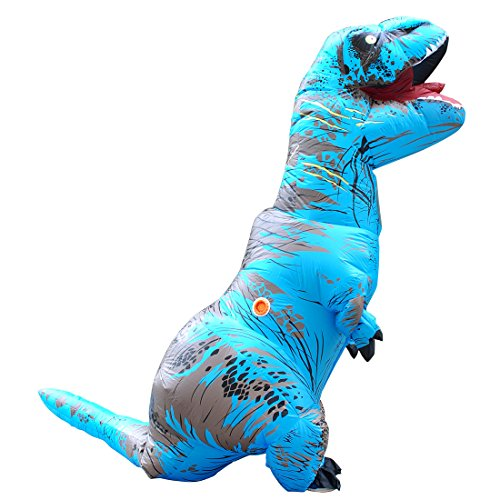 KOOYNN Inflatable Dinosaur T-REX Costume Halloween Blow up Costumes Adult (BLUE)