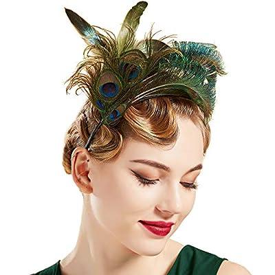 BABEYOND 1920s Feather Fascinator Headband Kentucky Peacock Headpiece for Tea Party Cocktail