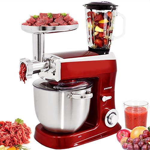 Syntrox Germany Küchenmaschine Knetmaschine Mixer 1500 Watt mit Fleischwolf, Edelstahl-Behälter 7,5 Liter, rot