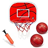 Over The Door Basketball Hoop Pad (13.4x9.8'') Backboard Metal Rim Goal (9') Hanging Wall Mount Board With 6' Rubber Basketballs Sports Activity Toys Game For Kids Adults Office Home Outdoor Indoor