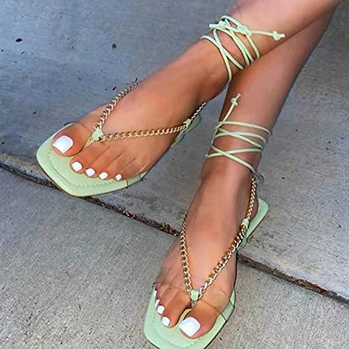 Btytu Zapatos Mujer Sandalias Peep Toe Plano Casual Playa Verano Sandalias,A,43