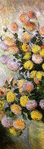 Elite-Paintings Claude Monet Vase of Dahlias Artista Quadro Riproduzione Dipinto Olio A Mano 95x30cm qualita museo