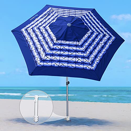 AMMSUN 8ft Fiberglass Ribs Commercial Grade Patio Beach Umbrella with Separate Sand Anchor Air- Vent & Carry Bag without Tilt Navy Blue White Stripe