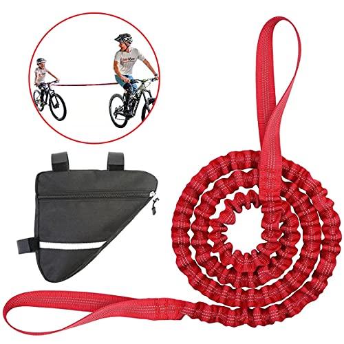 Kinder Fahrrad Abschleppseil mit Fahrrad Dreiecktasche, Fahrrad Abschleppgurt Elastisch, Fahrrad Bungee Abschleppseil, Eltern Kind Zugseil Abschleppseil Rot Bike Traktionsseil, Tragfähigkeit 500 lbs
