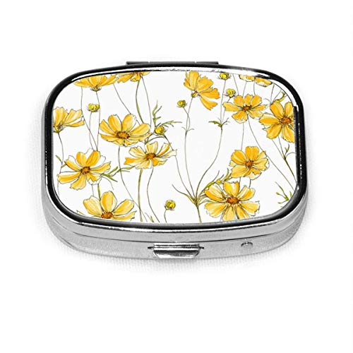 Yellow Cosmos Flowers Pill Box Square Metal Pill Case Two Compartment Pocket Medical Drug Tablet Storage for Organizer Holder Pocket Or Wallet Organizer Case Traveling