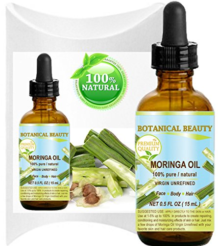 MORINGA OIL - Moringa oleifera WILD GROWTH Himalayan. 100% Pure/Natural/Undiluted/Virgin/Unrefined. 0.5 Fl.oz.- 15 ml. For Skin, Hair, Lip and Nail Care.