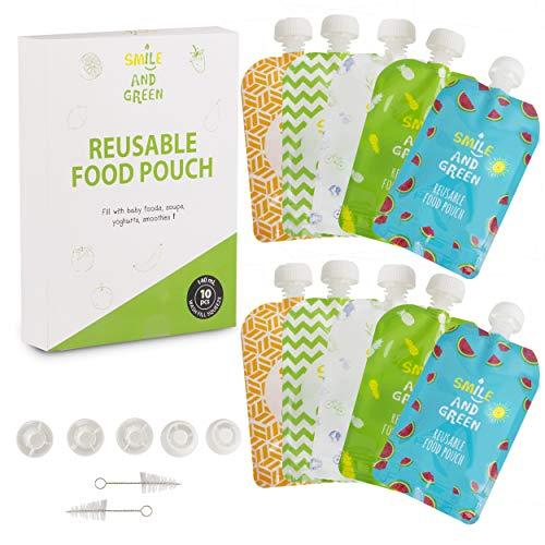 |Lot de 10| gourde reutilisable compote | 5 designs différents pour toute la famille | gourde reutilisable facile à remplir et à nettoyer | A emmener partout avec vous | zero dechet | sans BPA