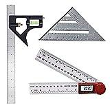 3er-Pack Messwerkzeug-Set, 12'-Einstellkombinationsset, 7' -Aluminium-Dreieck-Lineal-Quadrat und digitaler Winkelmesser mit Nullung