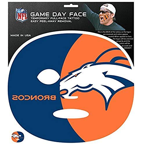 NFL Denver Broncos Game Day Face Tattoo (4 Set), One Size