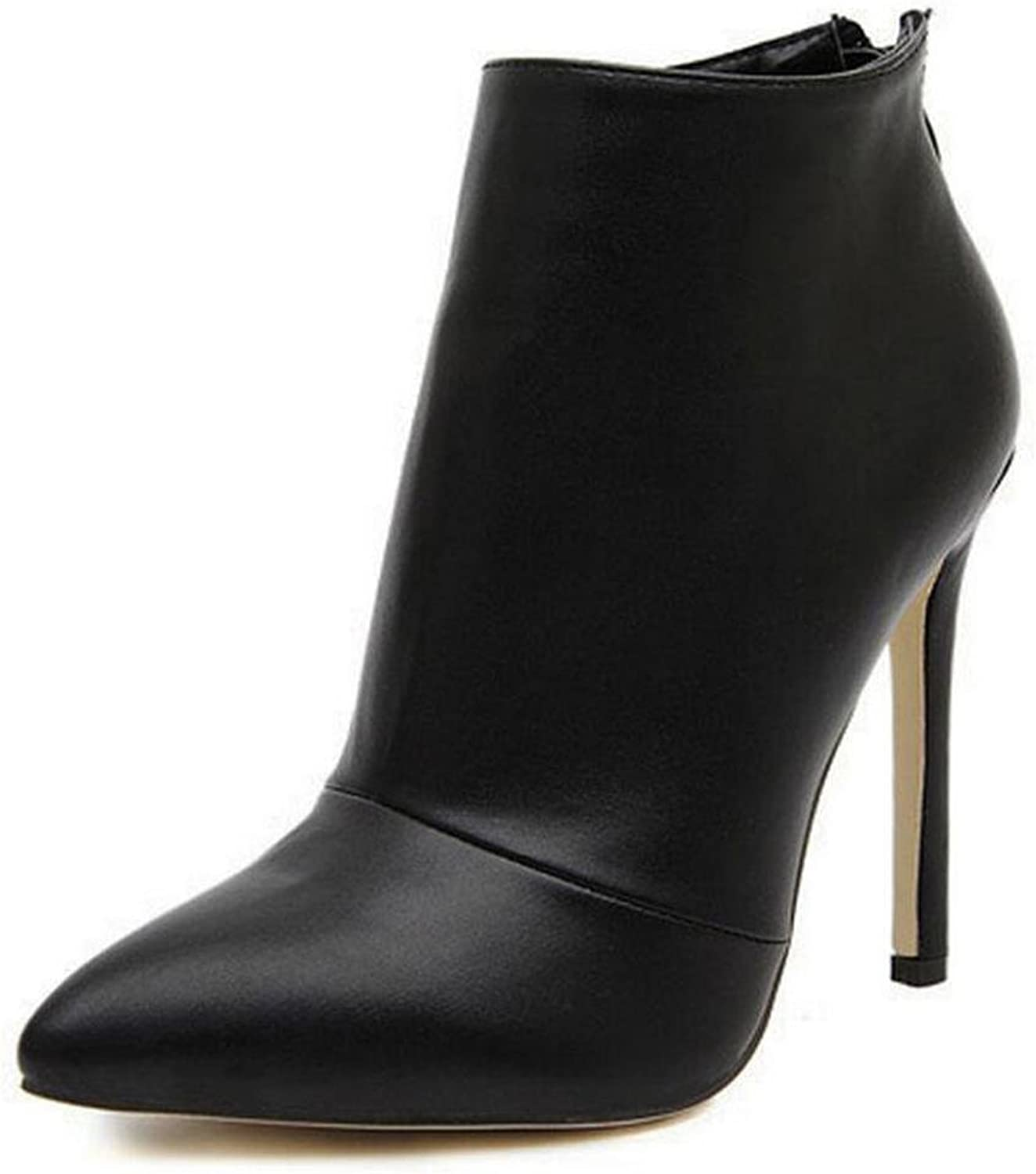 L@YC Women's High Heels Simple Glossy Zipper Pointed Boots Ankle Boots Black Red