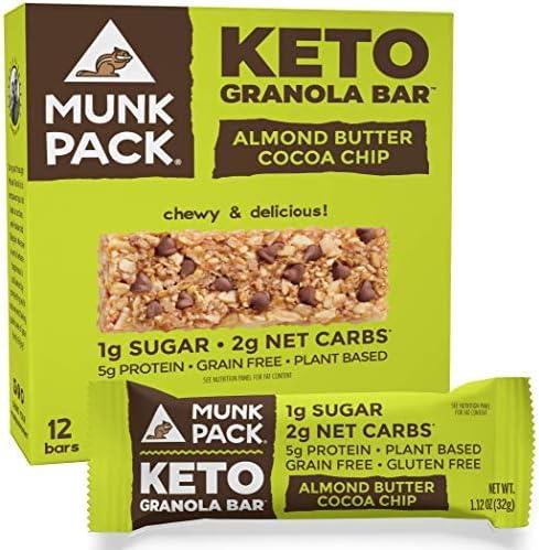 Munk Pack Keto Granola Bar 1g Sugar 2g Net Carbs Keto Snacks Chewy Grain Free Plant Based Paleo product image