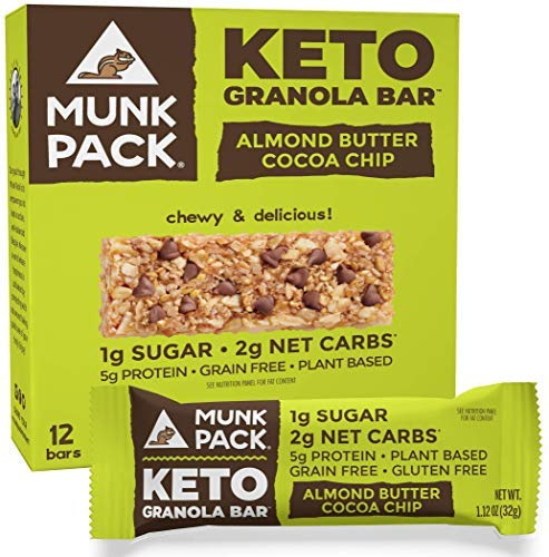Munk Pack Keto Granola Bar, 1g Sugar, 2g Net Carbs, Keto Snacks, Chewy & Grain Free, Plant Based, Paleo-Friendly, Gluten Free, Soy Free, No Sugar Added (Almond Butter Cocoa Chip 12 Pack)