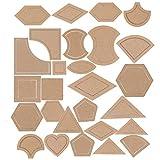 Haven Shop - Juego de 27 plantillas de regla para acolchar, costura, patchwork, manualidades, escala, triángulo, hexagonal, bricolaje, hecho a mano, herramientas para el hogar