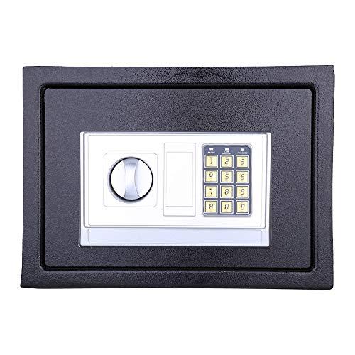 Caja de seguridad de acero con cerradura de acero, caja de seguridad digital de acero sólido con puerta frontal de 4 mm para proteger monedas de dinero en efectivo