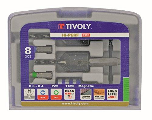Tivoly 11900670002 Werkzeugset mit Bohrer/Nussfräser/Bithalter, Grau, 5-teilig