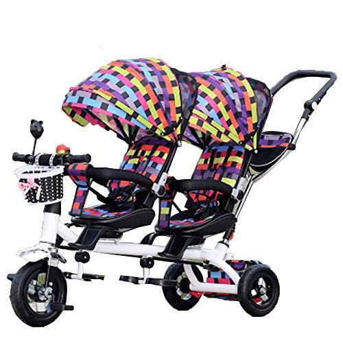 YumEIGE driewieler voor kinderen 1-6 jaar driewieler verjaardagscadeau met driewieler zonnedak gewicht 50 kg kinderwagen Toddler Trike (jongens en meisjes) verkrijgbaar Kleur: zwart/bruin,