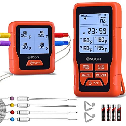 Fleischthermometer Grillthermometer Funk, BSOON Digital Thermometer Bratenthermometer mit 4 Sonden, 4 Temperaturfühler, Sofortiges Auslesen,Unterstützung für iOS und Android, für BBQ, Ofen, Fleisch