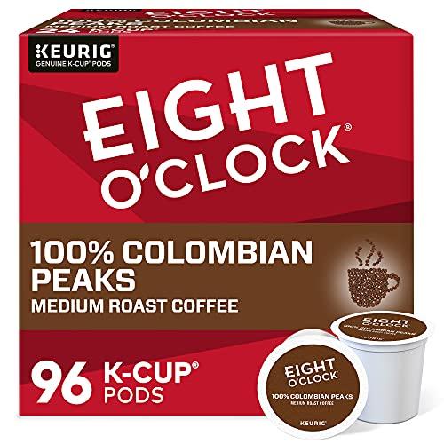 Eight O'Clock Coffee Colombian Peaks Single-Serve Keurig K-Cup Pods, Medium Roast Coffee Pods, 96 Count