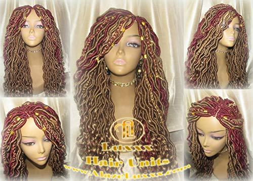 Boho Goddess Faux Locs Wig Gold Honey Blonde Burgundy27 Marley Hair Extensions Braided Wig Nubian Twist Passion Twists Spring Twists Crochet Braids