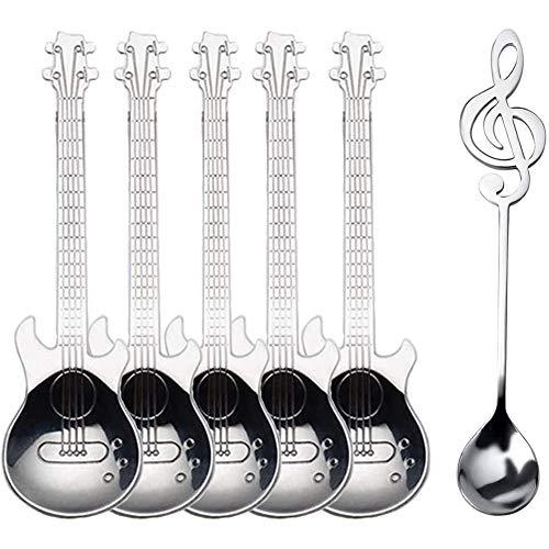 TOOGOO Gitarren L?Ffel Kaffee Musik Note Teel?Ffel Set, Dessert L?Ffel, Tee Schaufel zum RüHren Getr?Nk Mischen Milchshake Marmelade Silber