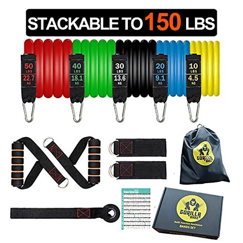 GorillaBanz GB150 12 bandas de ejercicio con anclaje de puerta, asas acolchadas, bolsa de transporte y correas de tobillo para entrenamiento de resistencia corporal completo