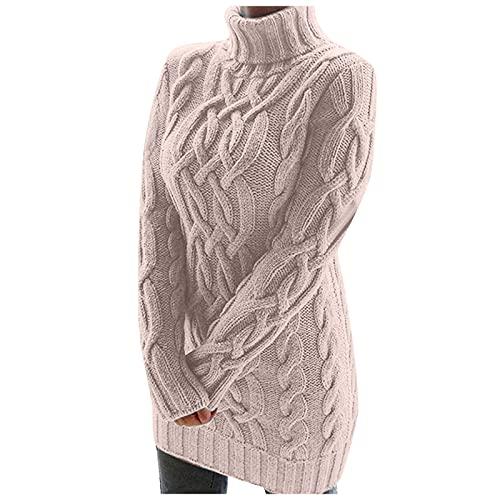 Roennie Damen Pulloverkleid Midi Rollkragen Strickpullover Kleider Damen Retro A Linien Kleid Minikleid Herbst und Winter Stricken Tunika Pulli...