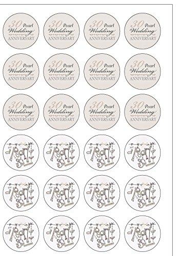 Lot de 24 décorations Pearl Anniversary (30 ans de mariage fête plaquette comestibles Papier Cake Toppers décorations