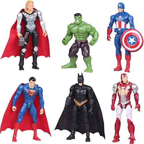 YUESEN Cake Topper 6Pcs Superhelden Avengers Figuren Geburtstags Party liefert Cupcake Spongebob Figuren Party Kuchen Dekoration Lieferungen Figuren