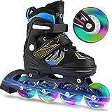 Laiozyen Rollers pour Enfants/Adolescents/Adultes, à Taille réglable - roulis Avant Luminous in Lines Skates Rollers en Ligne (Typ1, EU_39-42)