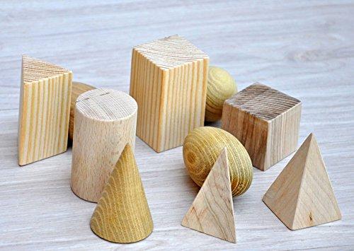 Montessori figuras geométricas de madera para reconocimiento de formas Juguetes Montessori para bebes Juego de madera para niños Sólidos de madera