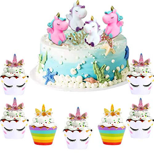 YuChiSX Licorne Cupcake Toppers et Wrappers Partie Fournitures Licorne Décorations Kit Licorne Gâteau Décoration Arc en Licorne Gâteau Cupcake Topper Décoration pour d'anniversaire Licorne Party